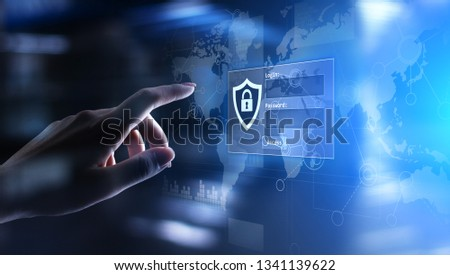 Access window with login and password on virtual screen. Cyber security and personal data protection concept.