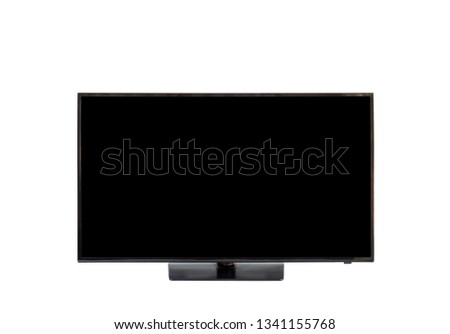Modern flat LCD television cuts out black screen with clipping path isolated on white background. #1341155768