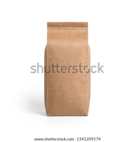 Brown craft paper bag packaging template with stitch sewing isolated on white background. Packaging template mockup collection. With clipping Path included. Stand-up pouch Front view package #1341209174