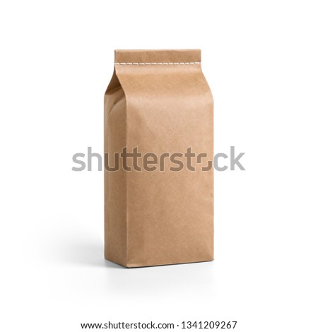 Brown craft paper bag packaging template with stitch sewing isolated on white background. Packaging template mockup collection. With clipping Path included. Stand-up pouch Half side view package #1341209267