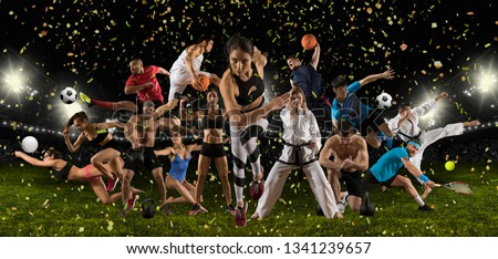 Huge multi sports collage athletics, taekwondo, tennis, karate, soccer, basketball, football, bodybuilding, etc #1341239657