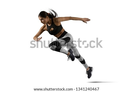 Woman sprinter leaving starting. Isolated image #1341240467