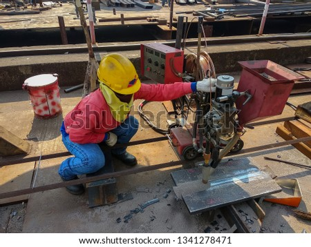 Welder Qualification Testing(WQT) of process Submerged Arc Welding(SAW) before actually starting the welding job. #1341278471