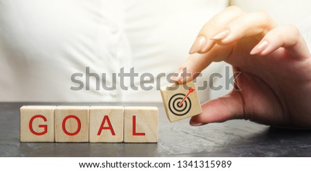 Business woman holds wooden blocks with the word Goal. The concept of achieving business goals. Reaching new heights. Execution of a business plan. Purposefulness. Perseverance. Target. Planning Royalty-Free Stock Photo #1341315989