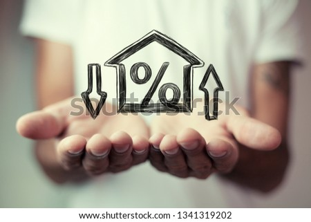 Percentage and house sign symbol icon #1341319202