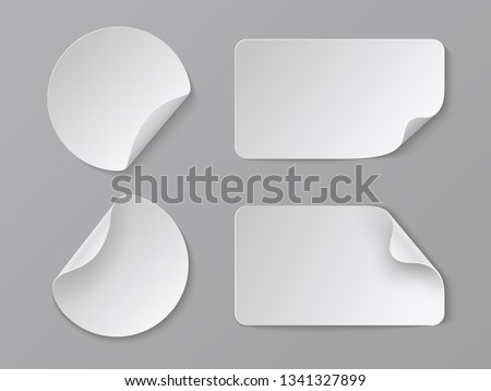 Realistic paper stickers. White adhesive round and rectangular price tags, blank fold corner paper mockup. Vector cardboard labels set #1341327899