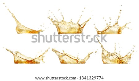splashes collection. Juice or beer splashes set isolated on white #1341329774
