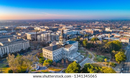 Drone Aerial View of Downtown Columbia, South Carolina, USA. #1341345065