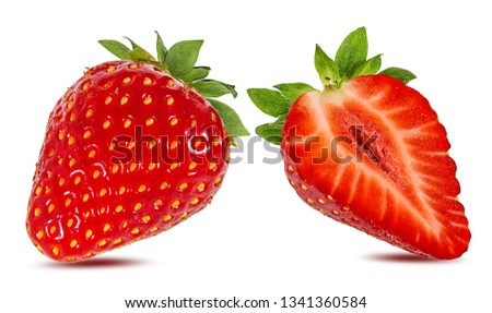 Fresh strawberry isolated on white background with clipping path #1341360584