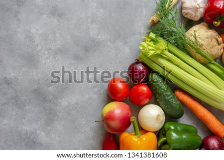 Fresh vegetables and fruits background. Top view, Copy space. #1341381608