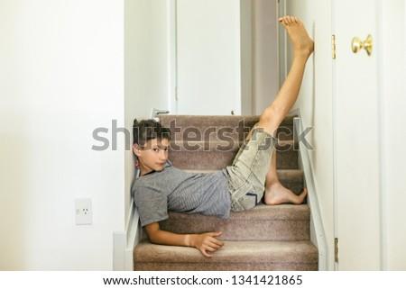 indoor portrait of young teen boy #1341421865