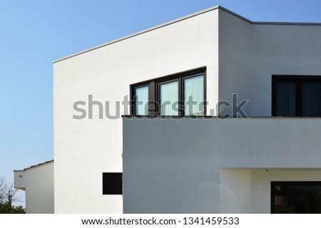 Megliadino, Italy - mar 17 2019: Country modern house, designed by Nicola Gennaro architect #1341459533