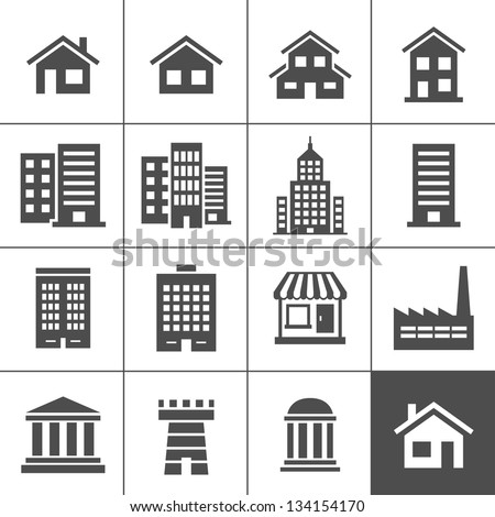 Building Icons Set. Vector illustration. Simplus series Royalty-Free Stock Photo #134154170
