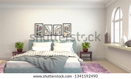 Bedroom interior. 3d illustration #1341592490
