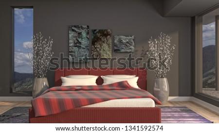 Bedroom interior. 3d illustration #1341592574