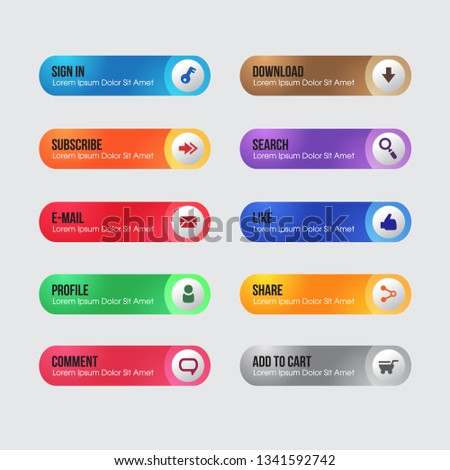 collection of web buttons in a variety of colours and styles. #1341592742