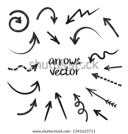 Grunge arrows vector set on white background
