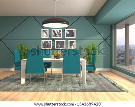 Interior dining area. 3d illustration #1341689420