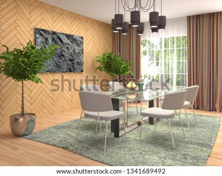 Interior dining area. 3d illustration #1341689492