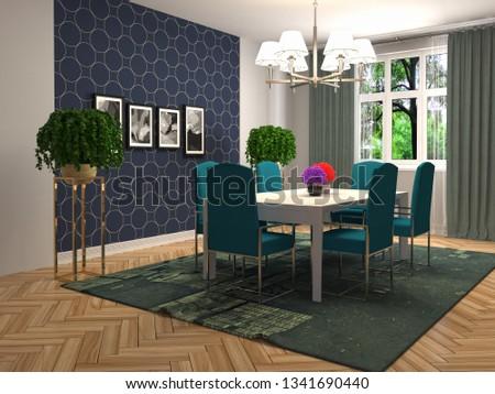 Interior dining area. 3d illustration #1341690440