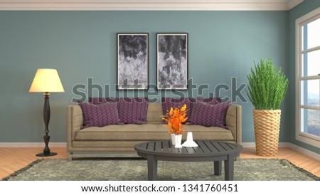 Interior of the living room. 3D illustration #1341760451