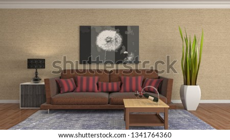 Interior of the living room. 3D illustration #1341764360