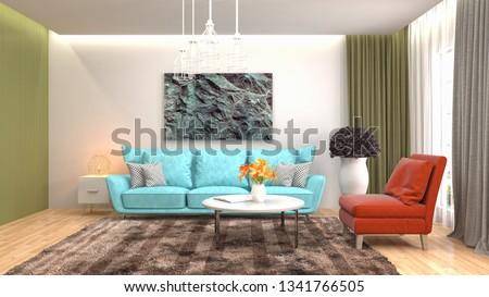 Interior of the living room. 3D illustration #1341766505