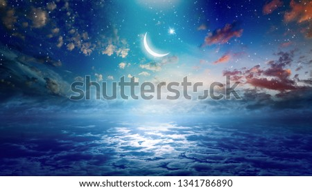 Ramadan Kareem background with crescent and stars, holy month celebration. Elements of this image furnished by NASA  #1341786890