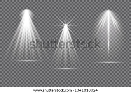 Vector spotlight. Light effect.Glow isolated white transparent light effect. Abstract special effect element design. #1341818024