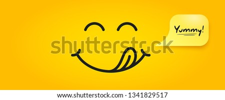 Yummy smile emoticon with tongue lick mouth. Tasty food eating emoji face. Delicious cartoon with saliva drops on yellow background. Smile face line design. Savory gourmet. Yummy vector #1341829517