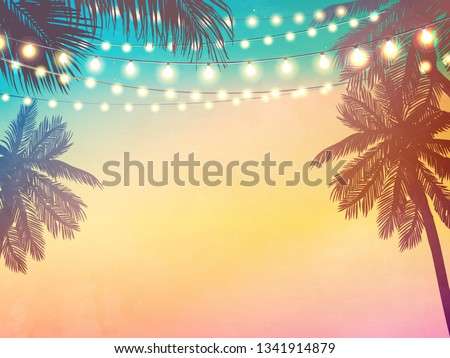 Hanging decorative holiday lights for a beach party invitation. Inspiration card for wedding, date, birthday Royalty-Free Stock Photo #1341914879
