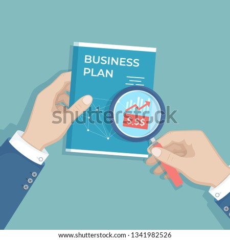 Businessman studying business plan. Analysis, analytics, strategy, profit growth, investment, success, project management, report. Human hand holding a magnifying glass and document book. Vector  #1341982526