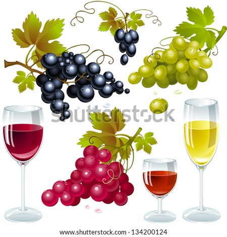 grapes with leaves and wine glass with wine.