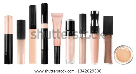 Palette of concealer tubes on white background #1342029308