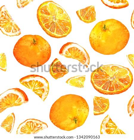 Summer pattern with oranges. Seamless texture design #1342090163