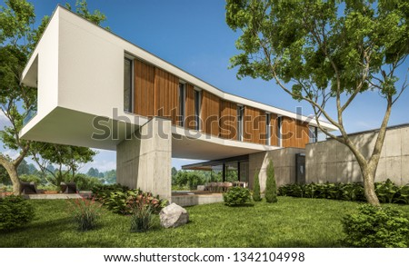 3d rendering of modern cozy house on the hill with garage and pool for sale or rent with beautiful landscaping on background. Clear sunny summer day with blue sky. #1342104998