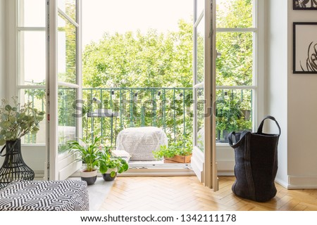 Real photo of open door to balcony with many fresh plants, lights, material pouf and view on urban jungle Royalty-Free Stock Photo #1342111178
