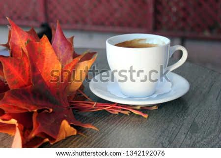 Autumn Fall Background with maple leaves and cup of black coffee - Autumn Card for your design, top view with copy space #1342192076