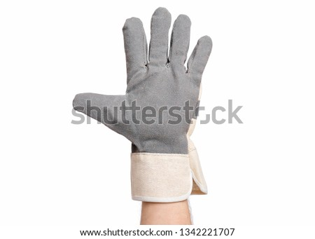 Worker showing gesture - open palm and five fingers. Male hand wearing working glove, isolated on white background. #1342221707