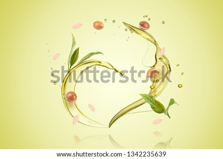 Argan oil bottle with fruits and oil splash on green background composite #1342235639