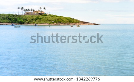 A lovely bay with some little boats and a  sand beach in Meaìpe a small fishing village near Guarapari in the Espirito Santo state in Brazil #1342269776