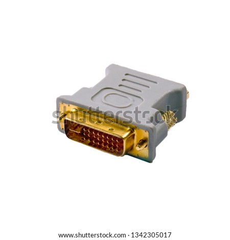 Plastic adapter gray VGA DVI with yellow pins over white background #1342305017