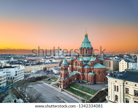 Aerial view of Uspenski Cathedral, St Nicholas' Church, beautiful sunset on the background, Helsinki, Finland. #1342334081