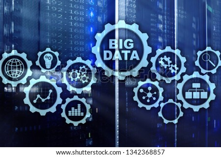Big Data Concept of hi tech and innovation in business and production. Virtual screen on data center server background #1342368857