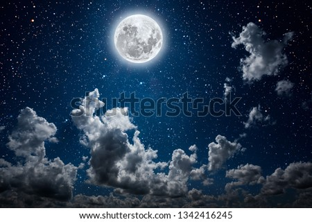 backgrounds night sky with stars and moon and clouds. Elements of this image furnished by NASA #1342416245