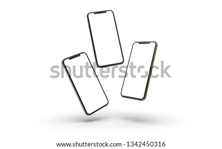 Gold, silver and black smartphones with blank screen, isolated on white background. #1342450316