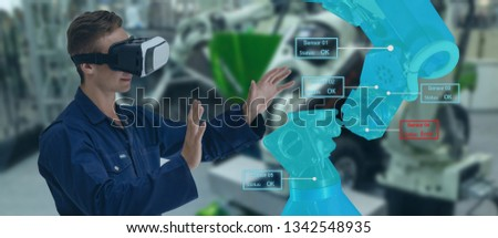 iot industry 4.0 concept,industrial engineer(blurred) using smart glasses with augmented mixed with virtual reality technology to monitoring machine in real time.Smart factory use Automation robot arm #1342548935