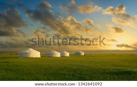 sunset on a yurt , in the grassland of Mongolia #1342641092
