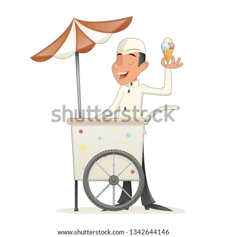 Smiling Ice Cream Seller with Cart Retro Vintage Cartoon Character Icon Isolated Retro Design Cartoon  Illustration
