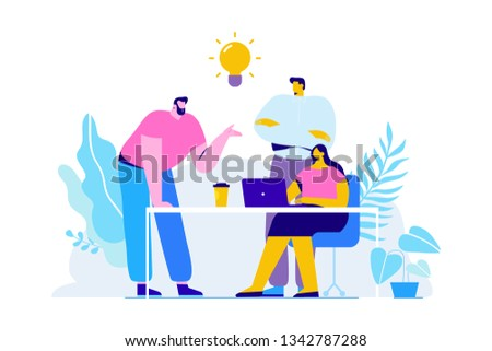 Team thinking and brainstorming. Training of office staff. Increase sales and skills. Analytics of company information.Flat vector illustration #1342787288